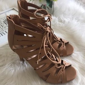 Caged Lace Up Zig Zag Peep Toe Strappy Heel